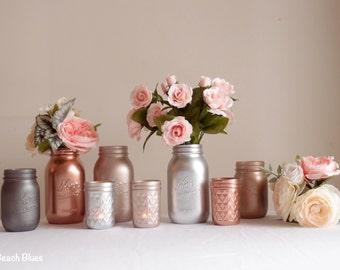 Rose gold decor / wedding decor / metallic mason jars / copper / vase / centerpiece / decoration / table decor / Set of 8 / editor's pick