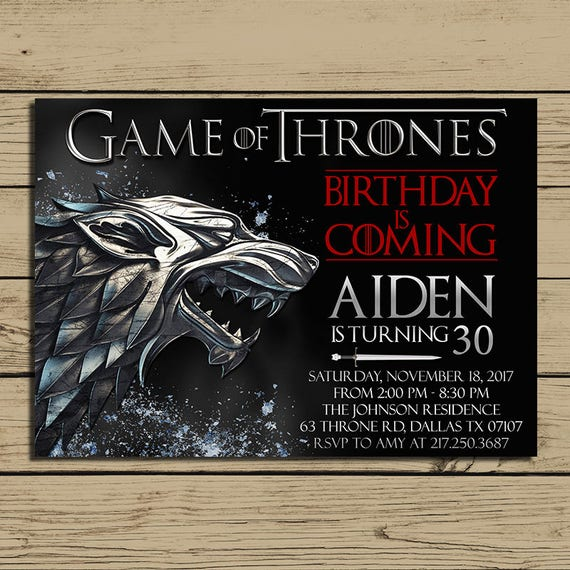 Game of thrones invitation game of thrones birthday party like this item filmwisefo Choice Image
