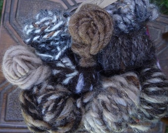Handspun Yarn, Art yarn, Natural Coloured Yarn, Thick & Thin Yarn, Bundle of 9 mini skeins: DRYSTONE WALL