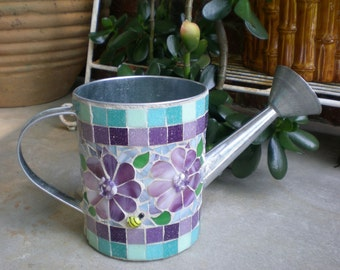 Purple Flowers Stained Glass Mosaic on Metal Watering Can