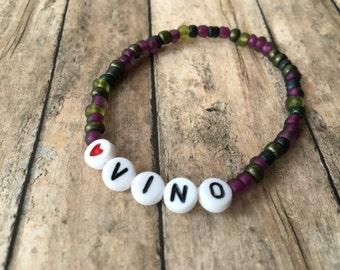 Vinyard Mix Beaded Bracelet-VINO-Wine lover-WINE-Beaded Stretch Bracelet-Adult Bracelet-stacking bracelet
