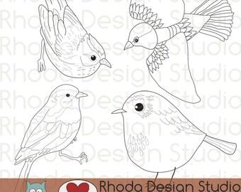 Song Bird Illustrations Digital Clip Art Retro Stamps