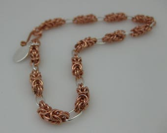 Bracelet Argentium Silver and Copper Byzantine and Loops