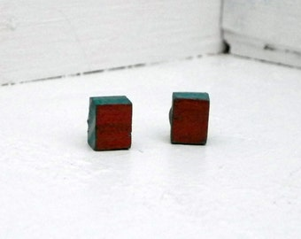 Teal and Copper Cube Earrings Color Block Square Earrings Upcycled Wood Earrings