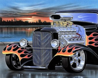 1932 Ford Blown Black Flamed Hot Rod Art Print
