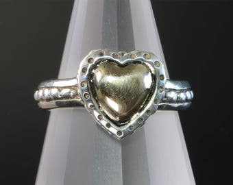 Vintage! Sterling Silver and 14K Yellow Gold Heart Ring