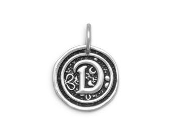 Sterling Silver Letter Charm D Initial Pendant Ornate Disc