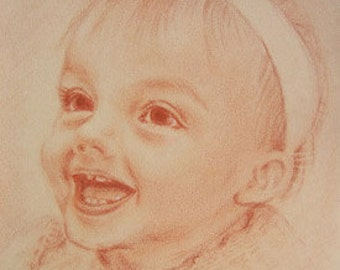 A commission art 肖像画オーダーメイド Pastel mono-color drawing 16  x  20 inches  Shoulder and up, without hand or any objects.