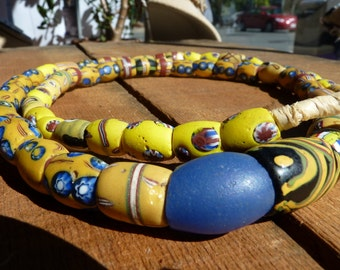 19th Century Trade Beads - yellows and blues