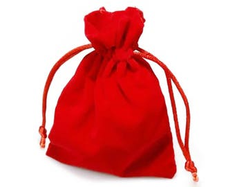 10 High quality velour bags, 85 x 120 mm, red