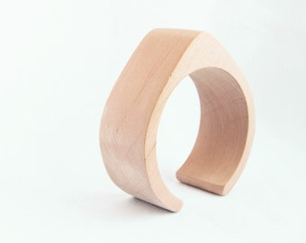 35 mm Wooden cuff unfinished drop shape - natural eco friendly TA35O