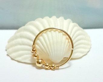 Gold beaded septum ring, silver septum piercing,16 - 20 gauge, 8 - 10mm inner diameter,  septum hoop, gold nose septum ring,silver nose ring