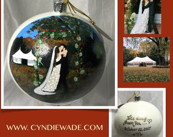 Portrait Ornament Custom Painted Family Portrait Christmas Portrait Bulb