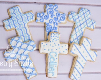 Cross Sugar Cookies, 1 Dozen, Baby Boy, Baptism, Baby Girl, Confirmation, Christening, Baby Shower, Church