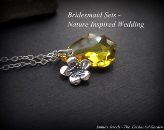 Bridesmaid Sets - Bridesmaid Sterling Silver Flower Yellow Swarovski Crystal Necklaces - Nature Inspired Wedding - Outdoor Wedding - Spring