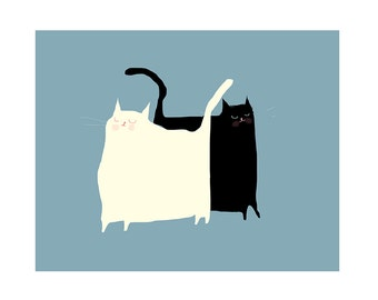 Cat Art - Beep & Bop Cat Print - Cat Painting- Jazz Cats