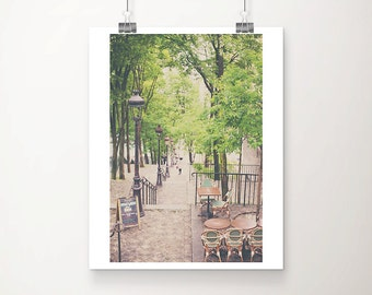 Paris photography, Montmartre steps, Montmartre Paris, springtime in Paris, travel photography, large wall art, Paris cafe print