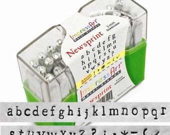 "NEWSPRINT - LOWERcase Typewriter font - steel letter stamps - 1/8"" (3MM) size - includes 6 Bonus DESIGN stamps"