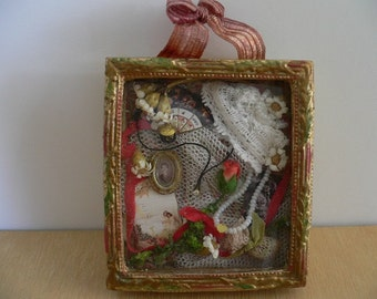 Dollhouse Miniature One Inch Scale Feminine Filled Shadow Box