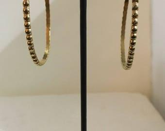 Gold plated brass hoop stud earrings