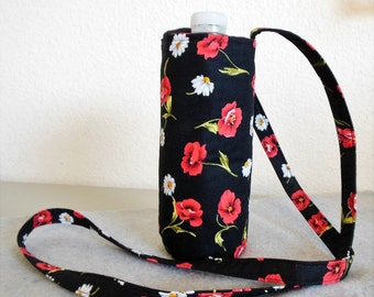 Insulated Water Bottle Carrier - Pansies and Daisies