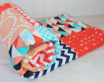 Baby Blanket, Baby Bedding, Nursery Decor, Baby Gift, Minky Baby Blanket, Baby Quilt, Coral, Peach, Aqua Blue, Aqua, Navy Blue, Navy, Teal