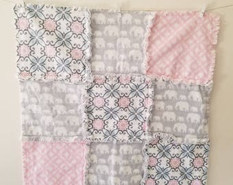 Pink and Gray Elephant Stroller Car seat Blanket