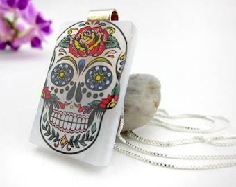 Sugar Skull Pendant-  Fused Glass Jewelry- Fused Glass Pendant- Fused Glass Necklace-Skull Jewelry