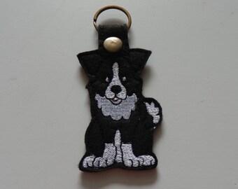 Border Collie (Embroidery/Felt/Keychain)