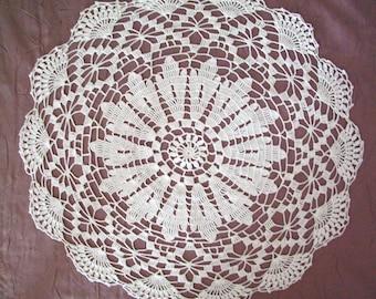 Handmade white lace doily