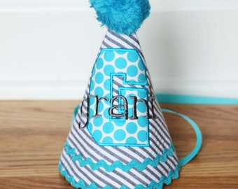 Boys First Birthday Party Hat - Grey stripes and aqua dots - Free personalization
