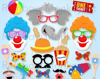 Circus Photo Booth Props - Circus Photobooth - Carnival Photobooth Props - Printable Clown Party Props - Birthday Photo Booth Props