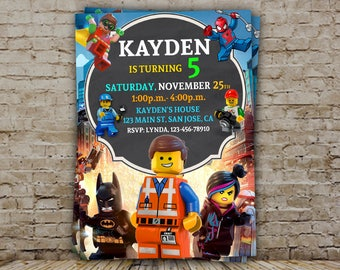 Lego invitation, Lego Birthday, Lego Party, Lego Birthday Invitation, Lego Movie Invitation