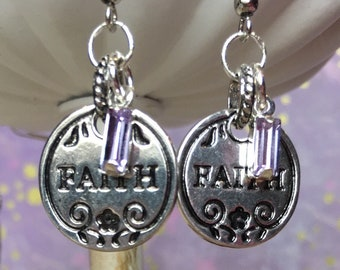 Silver Inspirational faith earrings with Violet crystal drop accents