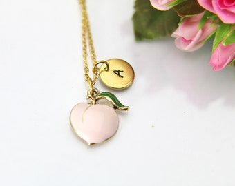 Dainty Necklace, Gold Peach Charm Necklace, Peach Charm, Fruit Charm, Foodie Gift, Food Charm, Personalized Gift, Best Friend Gift