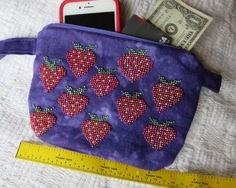 Purple Strawberry Beaded Bag