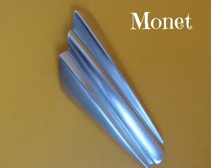Vintage Monet Brooch, Matte Silver Tone Modernist Brooch, Large Ridged Pin, FLAWS