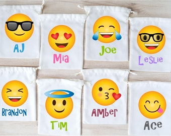 Emoji Favor Bags Party Favors Personalized Gift Loot Goodie Drawstring Pouch Birthday