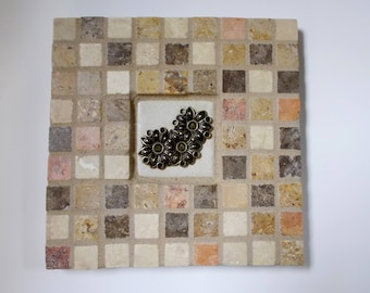 """Mexican Terra Cotta Travertine Natural Stone Mosaic Tile Trivet with Flowers 6"""" x 6"""""""