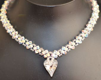 Crystal Swarovski Crystal 2x Heart Crystal Heart Crystal
