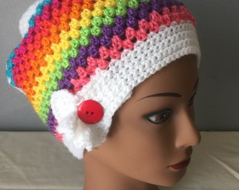 White Rainbow Slouchy Striped Hat in 3 Sizes Adult Child and Toddler