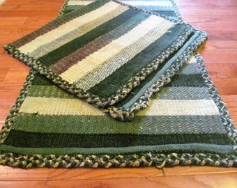 Set of 2 matching Rag rug.Woven greens and browns  wide stripes pattern.Oblong