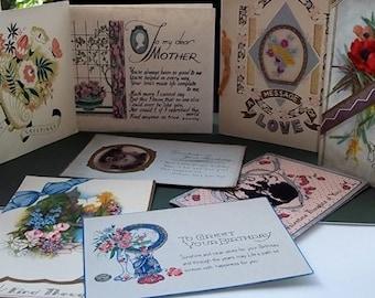 Vintage Greetings cards : Mixed Set of 8 Original Vintage Cards - Set 1
