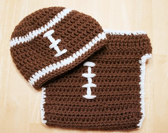Baby Football Outfit, crochet football hat and football diaper cover, Toddler football outfit, crochet football uniform, 12-24 Months