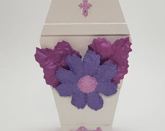 Miniature Coffin, Mixed Media, Painted Coffin, Pink, White, Purple, Flowers