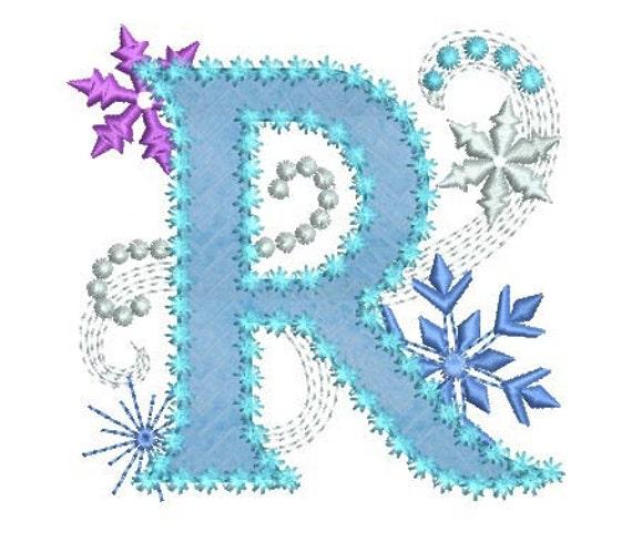 Ice Princess Letter R Frozen Cloth Decor Applique Machine