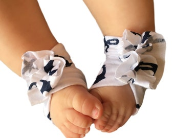 Baby Sandals - Baby Barefoot Sandal - Baby Shoes - Soft Baby Shoes - 4th of July Shoes - Baby Girl Barefoot Shoes - Anchor Shoes -