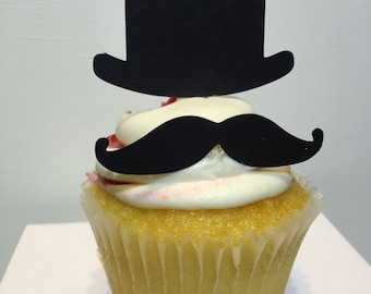 Mustache Party,Mustache Cupcake toppers, Top Hat Cupcake Toppers, 12 cupcake toppers, Black, Birthday decor, customizable,
