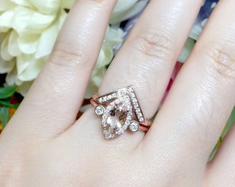 Marquise Morganite Engagement Ring Set.2pcs Marquise Engagement & Chevron Diamond Ring.14K Solid Gold Engagement Ring.0.38ct Diamonds