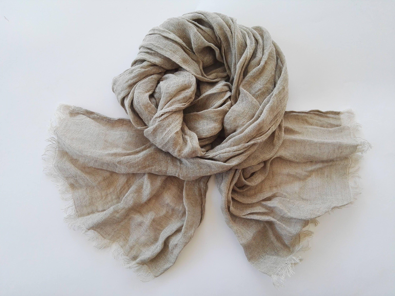 Natural Linen Color Unisex Scarf 100 Linen Scarf Pure Linen